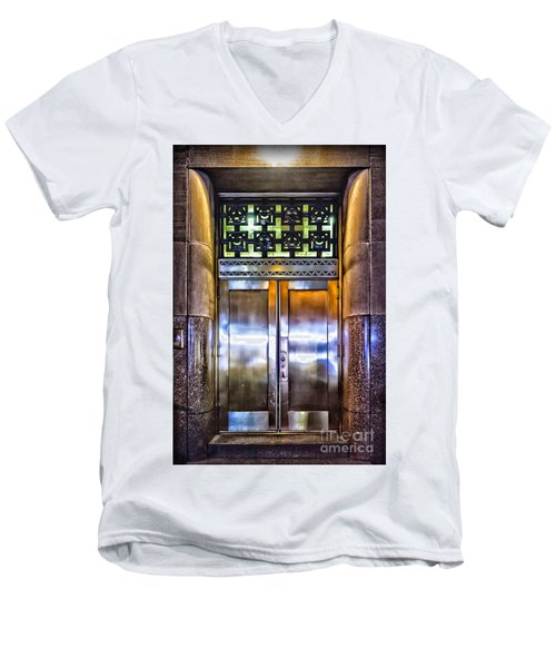 Men's V-Neck T-Shirt featuring the photograph Sights In New York City - Bright Door by Walt Foegelle