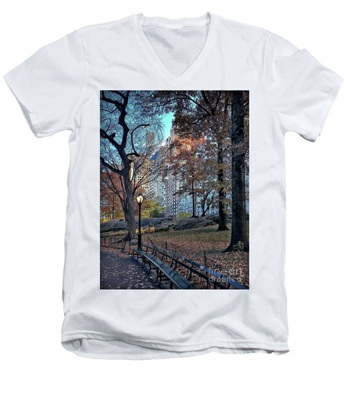 Men's V-Neck T-Shirt featuring the photograph Sights In New York City - Central Park by Walt Foegelle