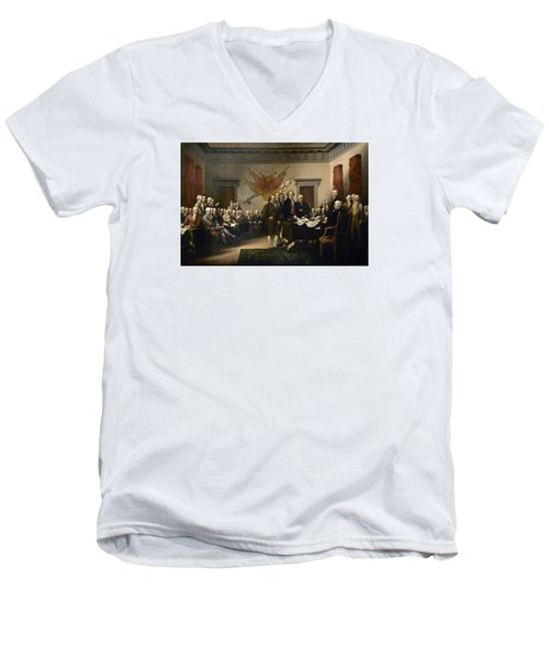 Signing The Declaration Of Independence Men's V-Neck T-Shirt by War Is Hell Store