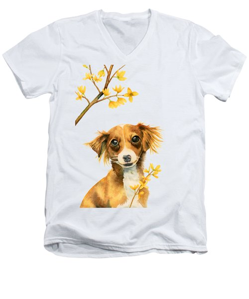 Signs Of Spring - Cute Dog With Forsythia Watercolor Painting Men's V-Neck T-Shirt