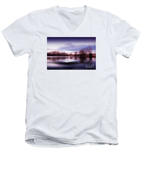 Silence Lake  Men's V-Neck T-Shirt by Franziskus Pfleghart