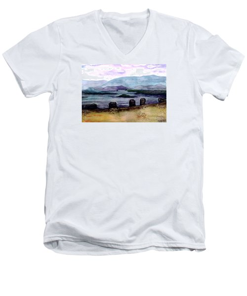 Men's V-Neck T-Shirt featuring the painting Silent Sentinels by Patricia Griffin Brett