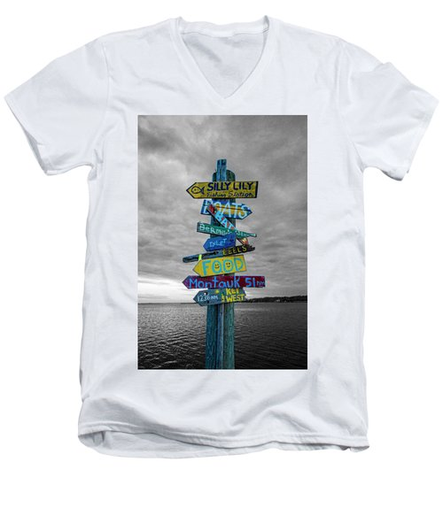 Silly Lily Fishing Station Sign Men's V-Neck T-Shirt