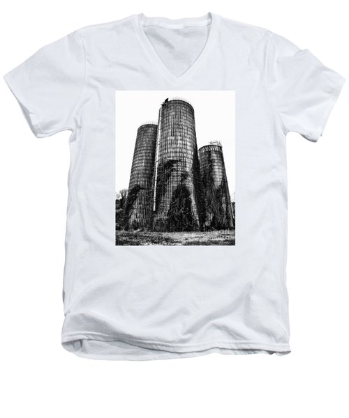 Men's V-Neck T-Shirt featuring the photograph Silos by Tamera James