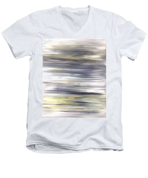Silver Coast #26 Silver Teal Landscape Original Fine Art Acrylic On Canvas Men's V-Neck T-Shirt
