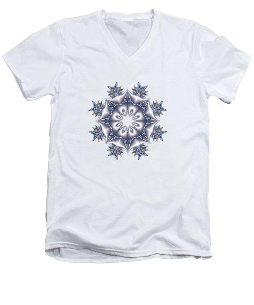 Silver Fractal Snowflake Men's V-Neck T-Shirt