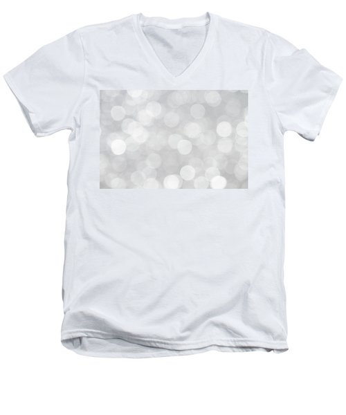 Silver Grey Bokeh Abstract Men's V-Neck T-Shirt by Peggy Collins