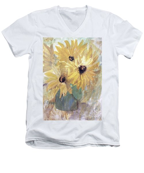 Men's V-Neck T-Shirt featuring the painting Simply Sunflowers  by Robin Maria Pedrero