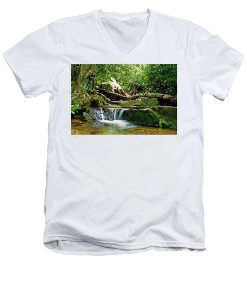 Men's V-Neck T-Shirt featuring the photograph Sims Creek Waterfall by Meta Gatschenberger