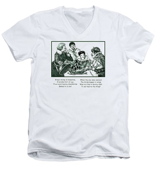 Men's V-Neck T-Shirt featuring the painting Sing A Song Of Sixpence Nursery Rhyme by Marian Cates