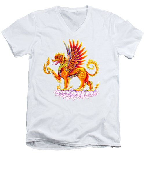 Singha Winged Lion Men's V-Neck T-Shirt by Rebecca Wang