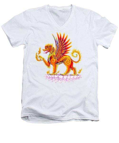 Singha Winged Lion Men's V-Neck T-Shirt