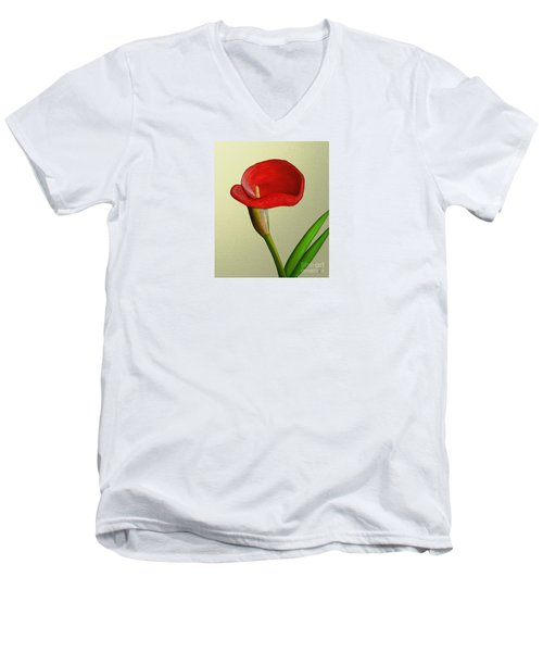 Men's V-Neck T-Shirt featuring the painting Single Pose by Rand Herron