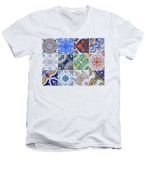 Men's V-Neck T-Shirt featuring the photograph Sintra Tiles by Carlos Caetano