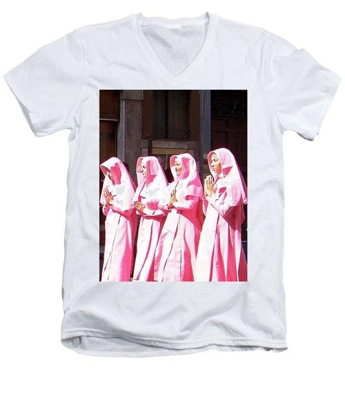 Sisters In Pink Men's V-Neck T-Shirt by Susan Lafleur