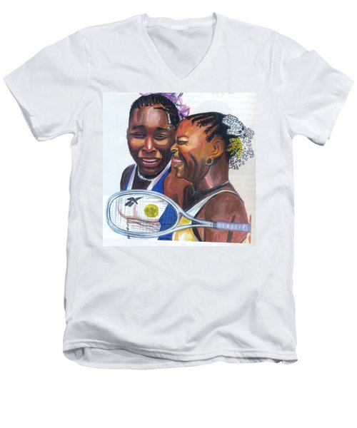 Men's V-Neck T-Shirt featuring the painting Sisters Williams by Emmanuel Baliyanga