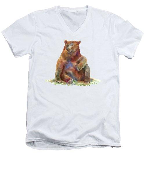 Sitting Bear Men's V-Neck T-Shirt by Amy Kirkpatrick