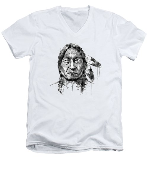 Sitting Bull Black And White Men's V-Neck T-Shirt by Marian Voicu