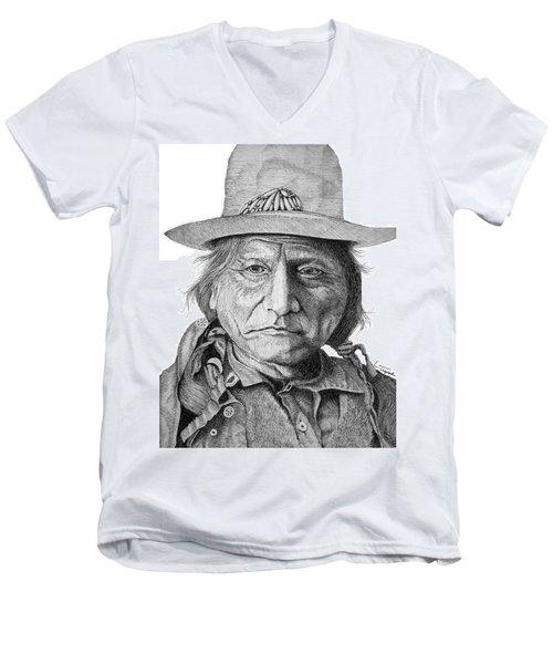 Sitting Bull Men's V-Neck T-Shirt by Lawrence Tripoli