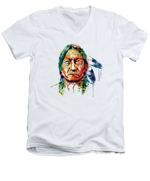Sitting Bull Watercolor Painting Men's V-Neck T-Shirt by Marian Voicu