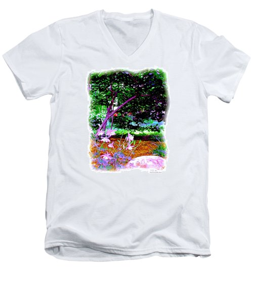Men's V-Neck T-Shirt featuring the painting Sitting In The Shade by Patricia Griffin Brett