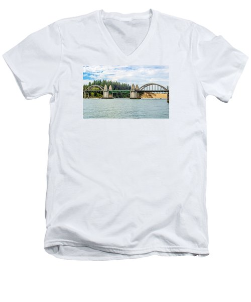 Men's V-Neck T-Shirt featuring the tapestry - textile Siuslaw River Draw Bridge  by Dennis Bucklin