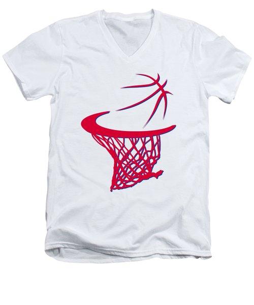 Sixers Basketball Hoop Men's V-Neck T-Shirt by Joe Hamilton
