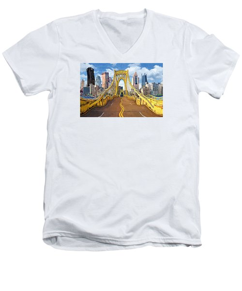 Sixth Street Bridge, Pittsburgh Men's V-Neck T-Shirt