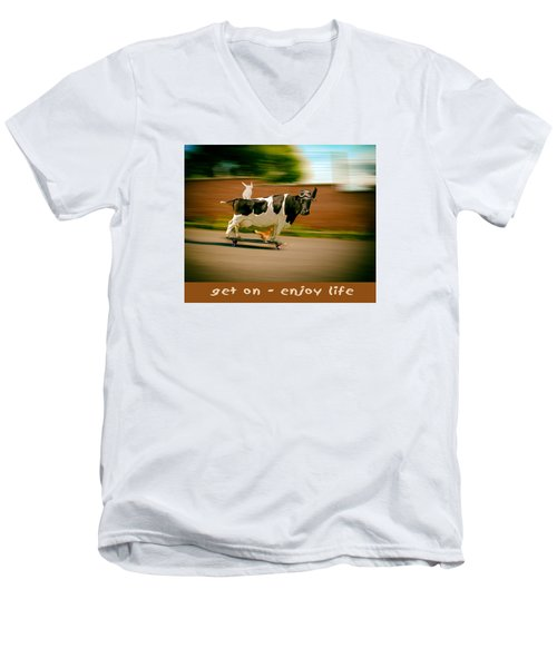 Skateboarding Cow And Pals Men's V-Neck T-Shirt