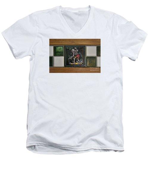 Skeleton On Wheels Men's V-Neck T-Shirt