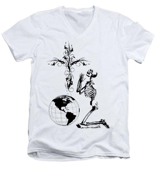 Skeleton Pryaing Cross Globe Men's V-Neck T-Shirt by Robert G Kernodle