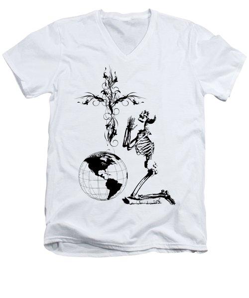 Skeleton Pryaing Cross Globe Men's V-Neck T-Shirt
