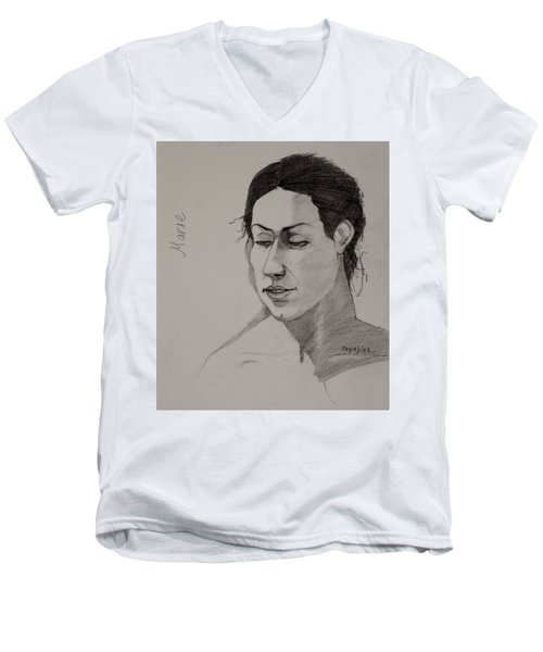 Men's V-Neck T-Shirt featuring the drawing Sketch For Marie 2 by Ray Agius