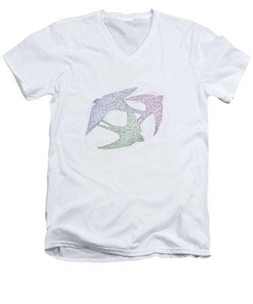 Sketch Of Swallow Birds Design In Motion Symbolism Of Freedom And Unity Men's V-Neck T-Shirt