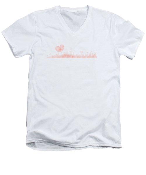 Sketch Of The City Skyline Men's V-Neck T-Shirt by Anton Kalinichev
