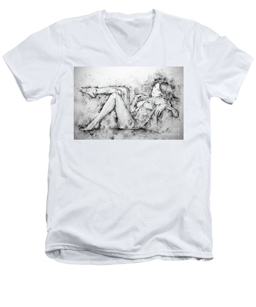 Sketchbook Page 46 Drawing Woman Classical Sitting Pose Men's V-Neck T-Shirt