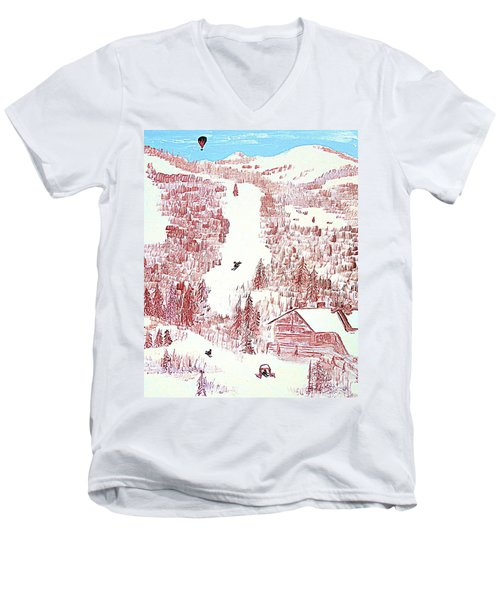 Men's V-Neck T-Shirt featuring the painting Skiing Deer Valley Utah by Richard W Linford