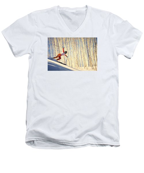 Skiing In Aspen, Colorado Men's V-Neck T-Shirt