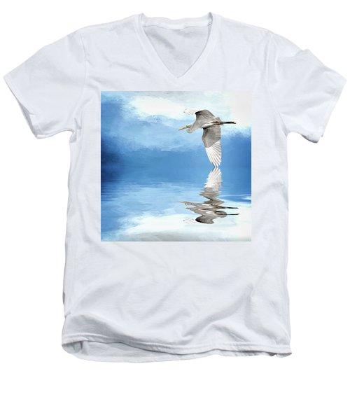 Skimming Men's V-Neck T-Shirt by Cyndy Doty