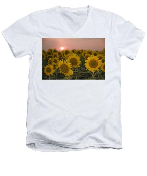 Skn 2178 The Sunflowers At Sunset  Men's V-Neck T-Shirt by Sunil Kapadia