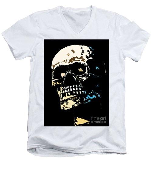 Skull Against A Dark Background Men's V-Neck T-Shirt
