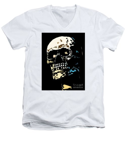 Skull Against A Dark Background Men's V-Neck T-Shirt