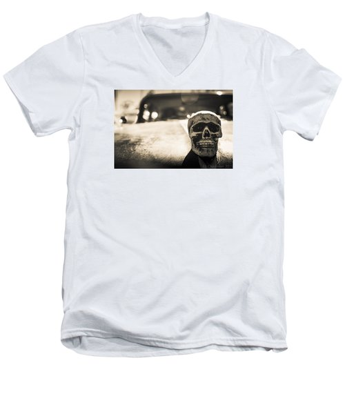Men's V-Neck T-Shirt featuring the photograph Skull Car by Lora Lee Chapman