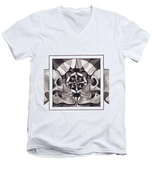 Skull Mandala Series Nr 1 Men's V-Neck T-Shirt by Deadcharming Art