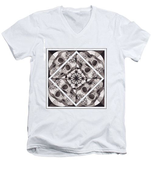 Skull Mandala Series Number Two Men's V-Neck T-Shirt by Deadcharming Art