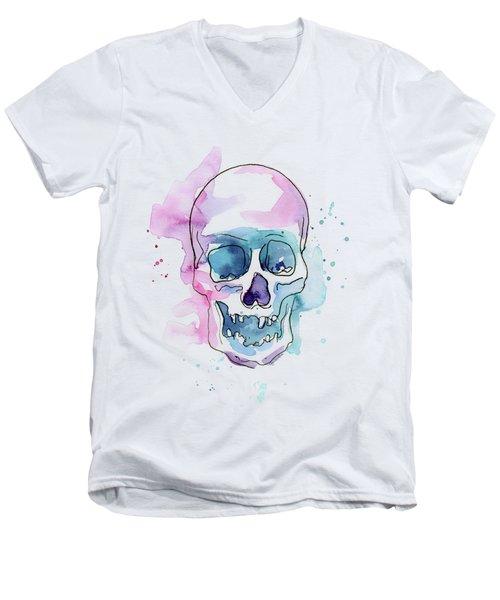 Skull Watercolor Abstract Men's V-Neck T-Shirt