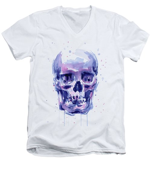 Skull Watercolor Men's V-Neck T-Shirt