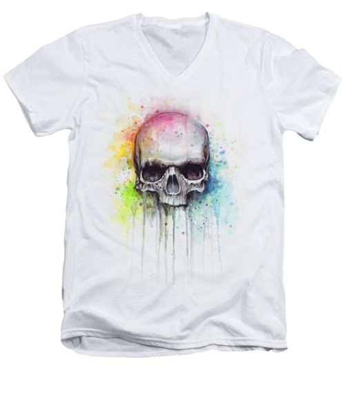 Skull Watercolor Painting Men's V-Neck T-Shirt by Olga Shvartsur