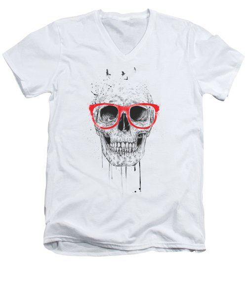 Skull With Red Glasses Men's V-Neck T-Shirt by Balazs Solti