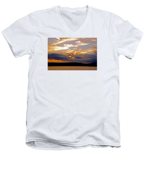 Men's V-Neck T-Shirt featuring the photograph Sky Fire by Lynda Lehmann